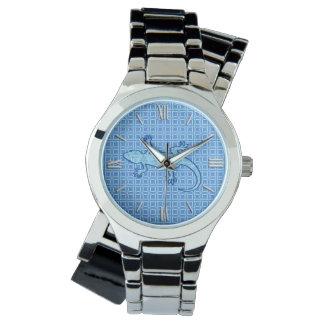 Tribal batik Gecko - soft denim blue Wrist Watches