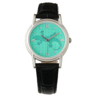 Tribal batik Gecko - turquoise / peacock Wrist Watches