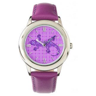 Tribal batik Gecko - violet and amethyst purple Wrist Watches