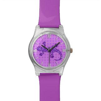 Tribal batik Gecko - violet and amethyst purple Wristwatch