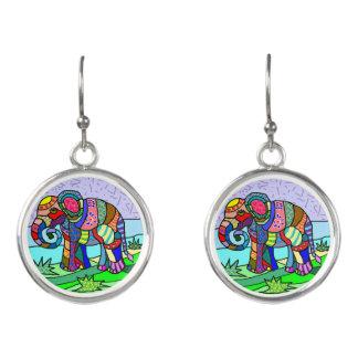 Tribal batik hippie colorful elephant painting earrings