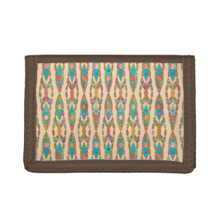 Tribal Batik - Peach Pink and Turquoise Tri-fold Wallets