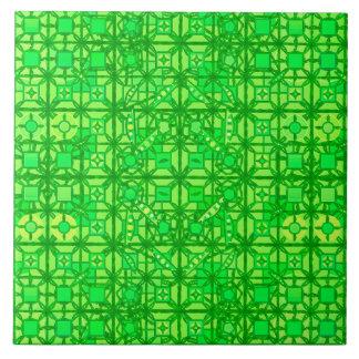 Tribal Batik - shades of emerald green Ceramic Tile