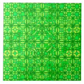 Tribal Batik - shades of emerald green Large Square Tile