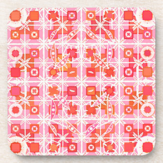 Tribal Batik - strawberry pink and red Coasters