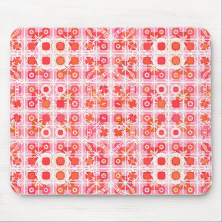 Tribal Batik - strawberry pink and red Mousepad