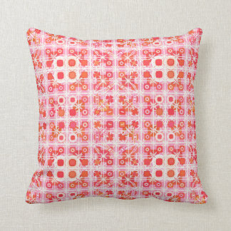Tribal Batik - strawberry pink and red Pillow