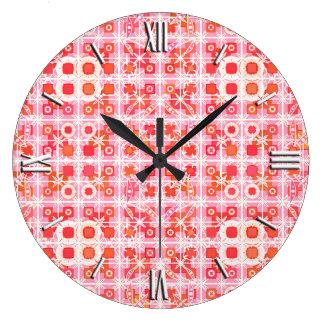 Tribal Batik - strawberry pink and red Wall Clocks