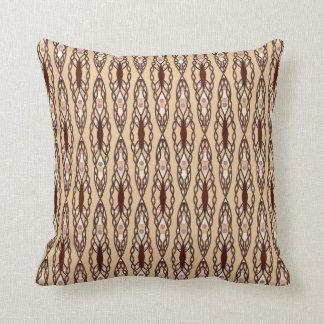 Tribal Batik - Tan, Dark Brown and Cream Throw Pillow