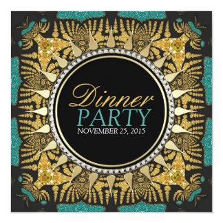 Tribal Batik Teal Gold Black Dinner Party Card