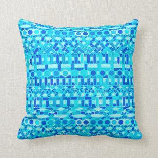 Tribal Batik - turquoise, aqua and cobalt blue Throw Pillow