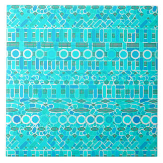 Tribal Batik - turquoise, aqua and grey Ceramic Tile