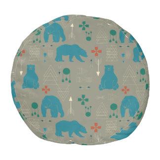 tribal bear gray pouf