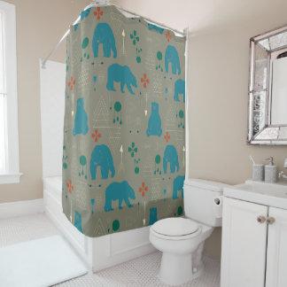 tribal bear gray shower curtain