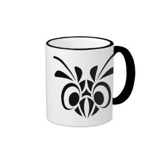 TRIBAL BIRD MASK GRAPHIC BLACK WHITE LOGO COFFEE MUG