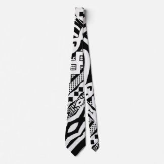 Tribal Black and White Zebra Patterned Tie