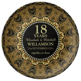 Tribal Black Gold Custom Anniversary Gift Plate Porcelain Plates