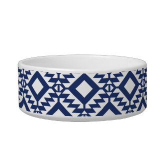 Tribal blue and white geometric cat food bowls