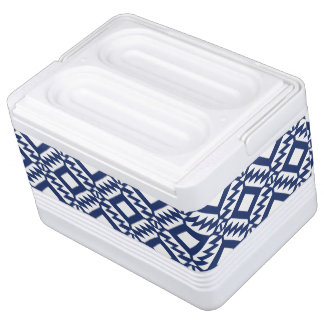Tribal blue and white geometric cooler