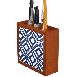 Tribal blue and white geometric desk organiser