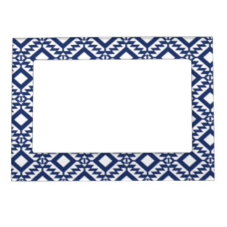 Tribal blue and white geometric frame magnets