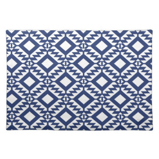 Tribal blue and white geometric placemat