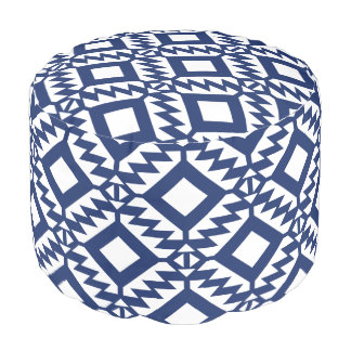Tribal blue and white geometric pouf