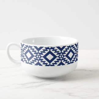 Tribal blue and white geometric soup mug
