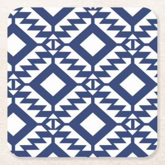 Tribal blue and white geometric square paper coaster