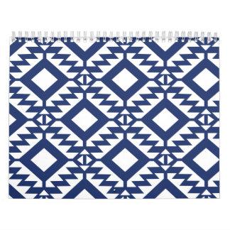 Tribal blue and white geometric wall calendars