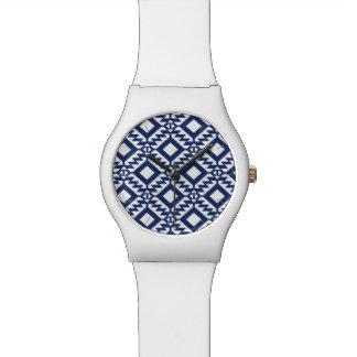 Tribal blue and white geometric watch
