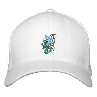 tribal blue dragon embroidered hats