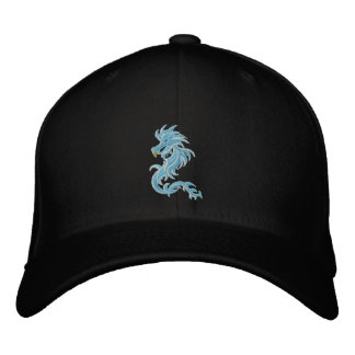 tribal blue dragon embroidered cap