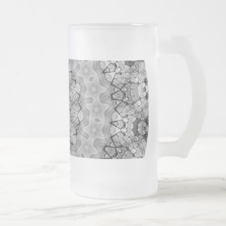 TRIBAL BOHEMIAN KALEIDOSCOPIC GEOMETRIC MANDALA FROSTED GLASS BEER MUG
