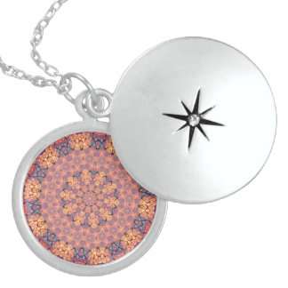TRIBAL BOHEMIAN KALEIDOSCOPIC GEOMETRIC MANDALA LOCKET NECKLACE