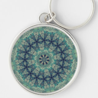 TRIBAL BOHEMIAN KALEIDOSCOPIC GEOMETRIC MANDALA Silver-Colored ROUND KEY RING