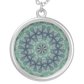 TRIBAL BOHEMIAN KALEIDOSCOPIC GEOMETRIC MANDALA SILVER PLATED NECKLACE
