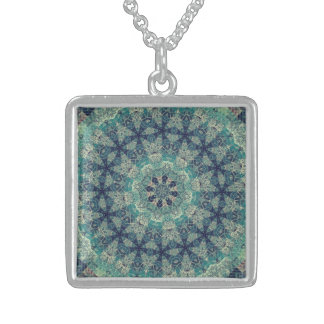 TRIBAL BOHEMIAN KALEIDOSCOPIC GEOMETRIC MANDALA STERLING SILVER NECKLACE