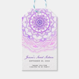 Tribal Bohemian Mandala Purple Sweet Sixteen Gift Tags
