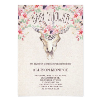 Tribal Boho and Floral Baby Shower Invitation