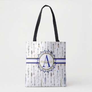 Tribal Boho Arrows Monogrammed Tote Bag