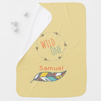 Tribal Boho Arrows Personalized Yellow Baby Blanket