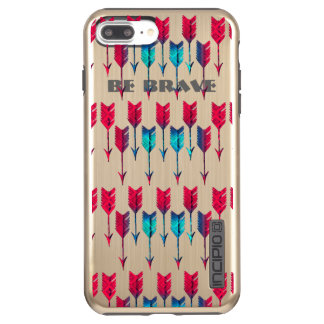 Tribal Boho Arrows Red Turquoise Feather Bohemian Incipio DualPro Shine iPhone 8 Plus/7 Plus Case