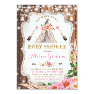 Tribal Boho Baby Shower Invitation Floral Teepee