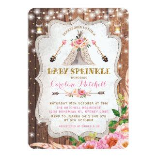 Tribal Boho Baby Sprinkle Invite Pink Floral Tipi