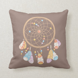 Tribal Boho Dreamcatcher on Brown Cushion
