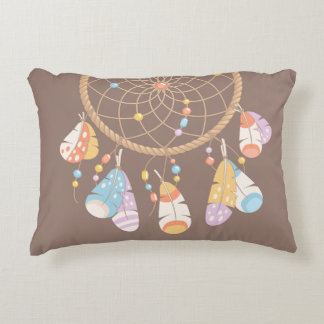 Tribal Boho Dreamcatcher on Brown Decorative Cushion