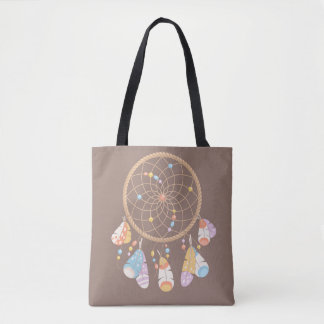 Tribal Boho Dreamcatcher on Brown Tote Bag