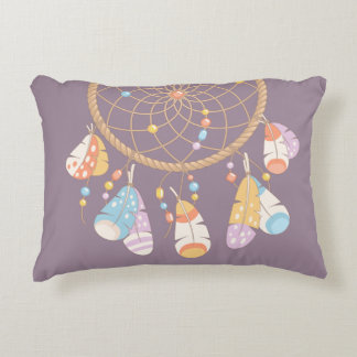 Tribal Boho Dreamcatcher on Purple Decorative Cushion