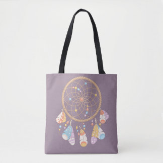 Tribal Boho Dreamcatcher on Purple Tote Bag